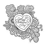 Tarjeta de la tarjeta del día de San Valentín con la inscripción del saludo Imagen de archivo