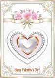 Tarjeta de la tarjeta del día de San Valentín con un corazón hermoso ilustración del vector