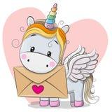 Tarjeta de la tarjeta del día de San Valentín con unicornio lindo de la historieta stock de ilustración