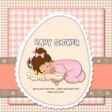 Tarjeta de la ducha de bebé con el pequeño bebé Imagenes de archivo