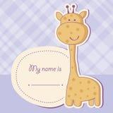 Tarjeta de la ducha de bebé con la jirafa Fotos de archivo libres de regalías
