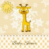 Tarjeta de la ducha de bebé con la jirafa Fotos de archivo