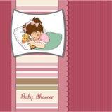 Tarjeta de la ducha de bebé con la niña Fotos de archivo libres de regalías