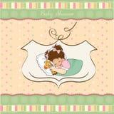 Tarjeta de la ducha de bebé con la niña Foto de archivo libre de regalías