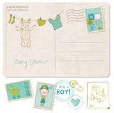Tarjeta de la ducha de bebé con el conjunto de sellos Imagen de archivo