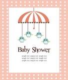 Tarjeta de la ducha de bebé para las muchachas Imagen de archivo libre de regalías