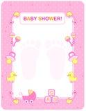 Tarjeta de la ducha de bebé para las muchachas Fotografía de archivo libre de regalías