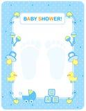 Tarjeta de la ducha de bebé para los muchachos Fotografía de archivo libre de regalías