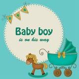 Tarjeta de la ducha de bebé para los muchachos Fotos de archivo