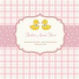 tarjeta de la ducha de los gemelos de los bebés Foto de archivo libre de regalías