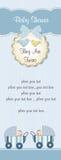 Tarjeta de la ducha de los gemelos del bebé Imagen de archivo