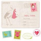 Tarjeta de la ducha del bebé con el conjunto de sellos Foto de archivo libre de regalías