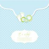 Tarjeta de la ducha del bebé con pasos de progresión y el marco del pie Fotografía de archivo libre de regalías