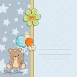 Tarjeta de la ducha del bebé con el peluche lindo Foto de archivo libre de regalías