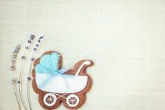 Tarjeta de la ducha del bebé Tarjeta de llegada con el lugar para su texto Foto de archivo libre de regalías