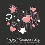 Tarjeta de la enhorabuena de la tarjeta del día de San Valentín con los corazones Fotografía de archivo