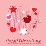Tarjeta de la enhorabuena de la tarjeta del día de San Valentín con los corazones Foto de archivo