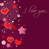 Tarjeta de la enhorabuena de la tarjeta del día de San Valentín con los corazones Foto de archivo libre de regalías