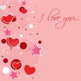 Tarjeta de la enhorabuena de la tarjeta del día de San Valentín con los corazones Fotografía de archivo libre de regalías