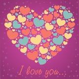 Tarjeta de la enhorabuena de la tarjeta del día de San Valentín con los corazones Fotos de archivo libres de regalías