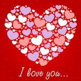 Tarjeta de la enhorabuena de la tarjeta del día de San Valentín con los corazones Imagenes de archivo