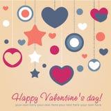 Tarjeta de la enhorabuena de la tarjeta del día de San Valentín con los corazones Imagen de archivo libre de regalías