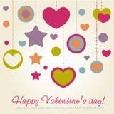 Tarjeta de la enhorabuena de la tarjeta del día de San Valentín con los corazones Imagen de archivo