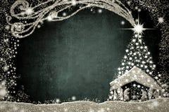Tarjeta de la escena y del árbol de navidad de la natividad libre illustration