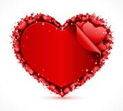 Tarjeta de la escritura de la etiqueta del corazón con el corazón Foto de archivo