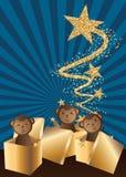 Tarjeta de la estrella del brillo del oro del regalo del mono ilustración del vector