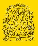 Tarjeta de la falsificación del tatuaje de la mujer de la yoga libre illustration