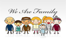 Tarjeta de la familia de la historieta Imagenes de archivo