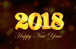 Tarjeta de la Feliz Año Nuevo 2018 Ilustración del Vector
