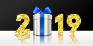 Tarjeta de la Feliz Año Nuevo la caja de regalo 3D, arco de la cinta, oro número 2019 aisló el fondo blanco-negro La Navidad de o libre illustration
