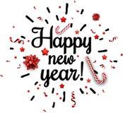 Tarjeta de la Feliz Año Nuevo con confeti Foto de archivo libre de regalías