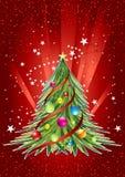 Tarjeta de la Feliz Año Nuevo con el árbol de navidad Fotos de archivo