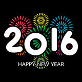 Tarjeta de la Feliz Año Nuevo 2016 con el fuego artificial Foto de archivo