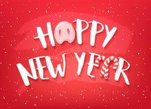 Tarjeta de la Feliz Año Nuevo con el texto, la nariz del cerdo y los bastones de caramelo en fondo rojo Vector stock de ilustración