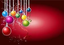 Tarjeta de la Feliz Año Nuevo con la bola de la Navidad Foto de archivo