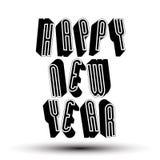 Tarjeta de la Feliz Año Nuevo con la frase hecha con el geometr retro del estilo 3d Fotografía de archivo