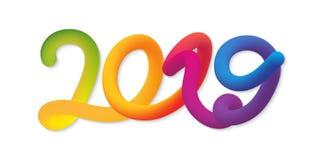 Tarjeta de la Feliz Año Nuevo 2019 con las figuras de neón coloridas ilustración del vector