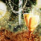 Tarjeta de la Feliz Año Nuevo con los vidrios de champán Imágenes de archivo libres de regalías