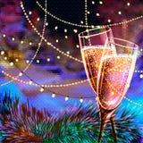 Tarjeta de la Feliz Año Nuevo con los vidrios de champán Foto de archivo libre de regalías