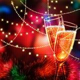 Tarjeta de la Feliz Año Nuevo con los vidrios de champán Imagen de archivo