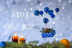 Tarjeta de la Feliz Año Nuevo Día de fiesta y concepto de la celebración Balloo del aire Fotos de archivo libres de regalías