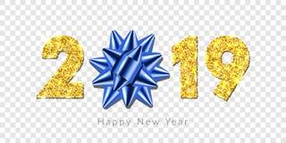 Tarjeta de la Feliz Año Nuevo el arco de la cinta azul del regalo 3D, oro número 2019 aisló el fondo transparente blanco Textura  ilustración del vector