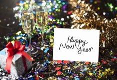 Tarjeta de la Feliz Año Nuevo en un partido Foto de archivo libre de regalías