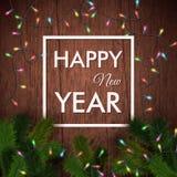 Tarjeta de la Feliz Año Nuevo Fondo de madera, guirnalda realista Imagen de archivo libre de regalías