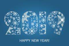 Tarjeta 2019 de la Feliz Año Nuevo - hecha de los copos de nieve Cartel del día de fiesta, bandera Vector ilustración del vector