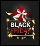 Tarjeta de la Feliz Año Nuevo de la Navidad del fondo del negro del vector de la promoción de Black Friday, saludo cardsred y caj imagen de archivo libre de regalías
